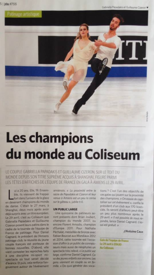 Article JDA Métropole du 15 avril 2015, annonce Tournée Equipe de France