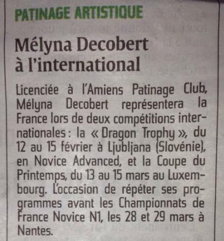 Courrier Picard du 6 février 2015, Mélyna Decobert à l'international.