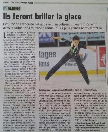 Courrier Picard du mardi 21 avril 2015 - annonce Tournée Equipe de France